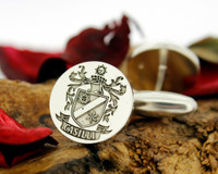 Casilli Family Crest Mens Silver Cufflinks, laser engraved, oxidised ageing