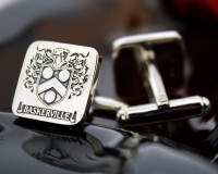 Baskerville  Family Crest Mens Silver Cufflinks, laser engraved, oxidised ageing, round only