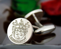 Arundell family crest mens cufflinks matt silver finish