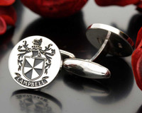 Campbell Family Crest Mens Silver Cufflinks, laser engraved, oxidised ageing