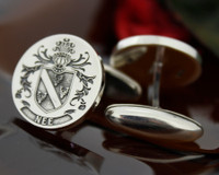 Nee family crest mens silver cufflinks laser engraved with oxidised ageing