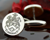 Buckley Family Crest Mens Silver Cufflinks, laser engraved, oxidised ageing design 41