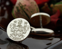 Chase Family Crest Mens Silver Cufflinks, laser engraved, oxidised ageing