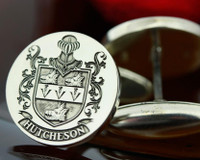 Hutcheson Family Crest Silver Mens Engraved Cufflinks
