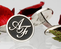 Monogram Silver Cufflinks - Negative Engraving