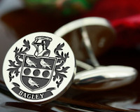 Bagley Family Crest Mens Silver Cufflinks, laser engraved, oxidised ageing. Design 27