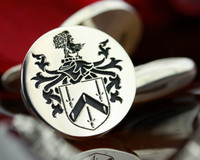Goldstraw Family Crest Custom Engraved Silver Mens Cufflinks