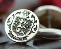Coombe Family Crest Mens Silver Cufflinks, laser engraved, oxidised ageing
