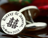 Cufflinks DOUBLE HAPPINESS wedding bespoke personalised laser engraved