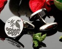 Love Peacock Monogram Silver Cufflinks - example MR