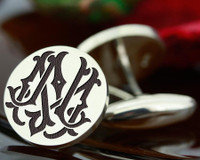 Victorian Monogram Silver Mens Cufflinks - MN NM - oxidised ageing recommended