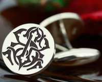 Victorian Monogram Silver Mens Cufflinks - SR RS - oxidised ageing recommended