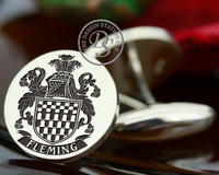 Fleming Family Crest Mens Silver Cufflinks, laser engraved, bespoke design, oxydised ageing