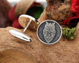 Owl Engraved Silver Mens Cufflinks - Negative engraving with oxidised ageing