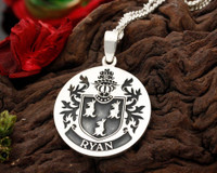 Ryan Family Crest Silver Engraved Pendant
