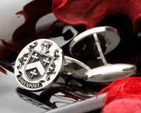 Davenport Family Crest Silver Cufflinks engraved Positive engraving