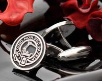 Dewar Scottish Clan Crest Silver Cufflinks Negative Engraving