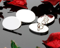 Oval Silver Link Cufflinks for laser engraving