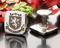 Owens Family Crest Cufflinks - engraving Titanium Square - Also available on Sterling silver, choice of over 100 design templates