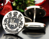 Cafferkey family crest cufflinks,  Design 90, oxidised or matt silver