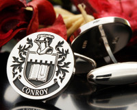 Conroy Family Crest Engraved Cufflinks, Positive Engraving D12