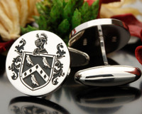 PINCHESS Family Crest Cufflinks Oxidised
