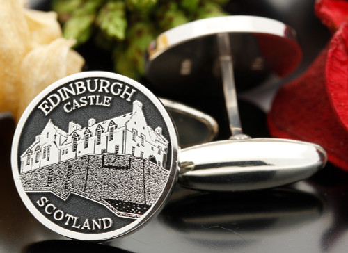 Edinburgh Castle Scotland engraved cufflinks