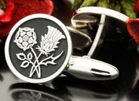 English Rose and Scottish Thistle Engraved Silver Cufflinks