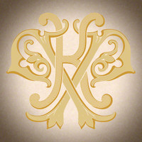 Victorian Monogram KP D2 - hand drawn design, graphic design only - download