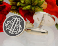 AA design 3 Victorian Monogram, borders available, oxidised finish.