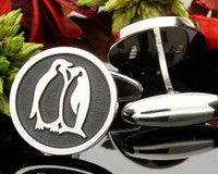 Penguins Personalised Engraved Cufflinks - Negative Engraving shown
