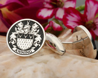 Anning Family Crest Cufflinks, image silver, negative engraving, oxidised