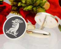 Mears Heraldry Crest Cufflinks, hand drawn design, example shown as negative engraved with oxidised finish