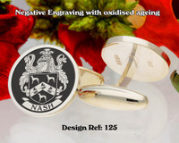Nash Family Crest Silver Cufflinks