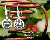 Family Crest Earrings Round - Style 1