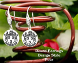 Family Crest Earrings Round - Style 4