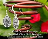 Scottish Clan Oval Silver Earrings