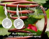 Peacock design sterling silver earrings - engraved matt silver