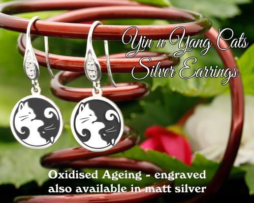 Yin n Yang Cats design sterling silver earrings - engraved oxidised