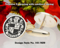 Butler (Ireland) Family Crest Cufflinks Negative Engraving