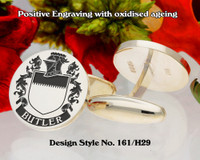 Butler (Germany) Family Crest Cufflinks Positive Engraving