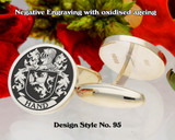 Hand Family Crest Cufflinks Negative Engraving D95