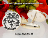 Hand Family Crest Cufflinks Positive Engraving D95