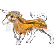 "ANIMAL HAND PIPE BULL WITH LINEAR DESIGNS 6"" ASSORTED COLORS"