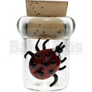 "GLASS NUG MEDICINE JAR W/ CORK CAP 3"" LADYBUG FUSED TRANSPARENT Pack of 1"