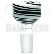 BOWL 2 GLASS PINCH DOTS COLOR SWIRLS BLACK WHITE 14MM