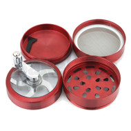 """WINDMILL GRINDER CRANK W/ POLLEN COLLECTOR 4 CHAMBER 2.5"""" RED Pack of 1"""
