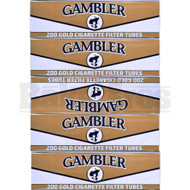GAMBLER CIGARETTE FILTER TUBES 200 PER PACK GOLD NATURAL Pack of 5