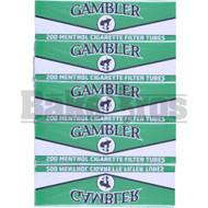 GAMBLER CIGARETTE FILTER TUBES 200 PER PACK MENTHOL NATURAL Pack of 5