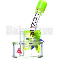"NEXUS GLASS WP FIXED DOWNSTEM PERC DISK W/ GLASS FLOWER 6"" SLIME GREEN MALE 14MM"